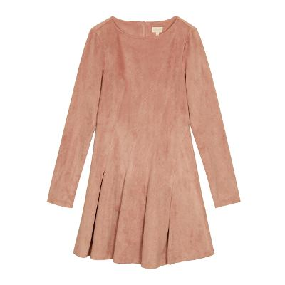 suede curve pleats dress pink